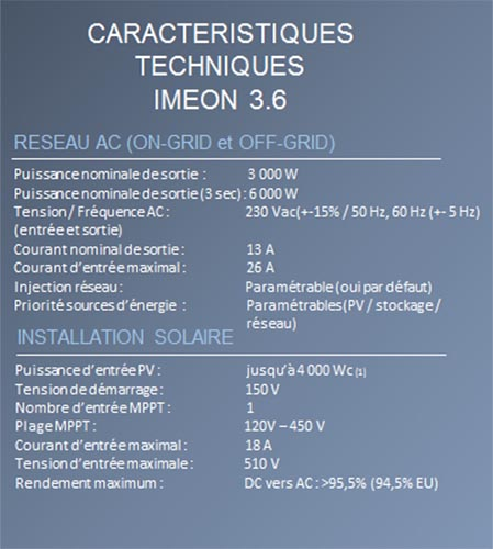 Specification Imeon 3.6 FR